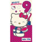 Hello Kitty Age 9 Birthday Card with Badge